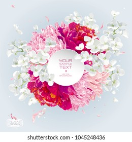 Vintage floral vector composition with Chrysanthemums, Asters, Peonies,  Apple blossom, garden flowers with paper label in watercolor style for invitation cards, banners, posters, banners, sales