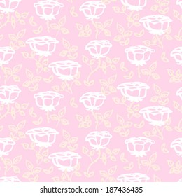 Vintage floral vector pattern with small white hand drawn rose flowers on soft pink background.