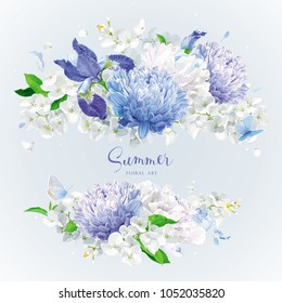 Vintage floral vector rosette: blue Chrysanthemums, Irises, white Peonies, Apple blossom. Botanical drawing in watercolor style for greeting cards, flower wedding invitations, spring summer sales.