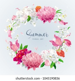 Vintage floral vector wreath with Chrysanthemums, Irises, Hydrangeas, Peonies, Apple blossom, garden flowers. Botanical drawing in watercolor style for invitation cards, wedding, posters banners, sale