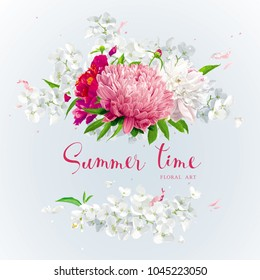 Vintage floral vector wreath with Chrysanthemums, Hydrangeas, Peonies, Apple blossom, garden flowers. Botanical drawing in watercolor style for invitation cards, wedding, posters, banners, sales