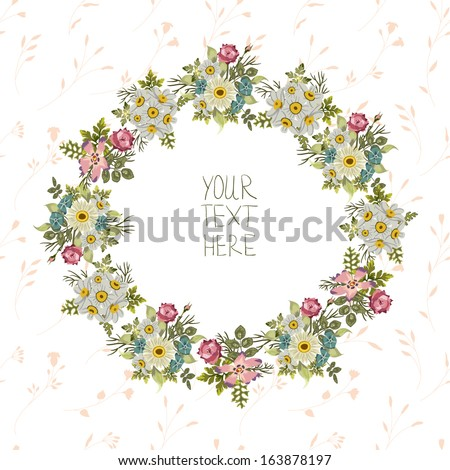Vintage Floral Wreath Birthday Invitation