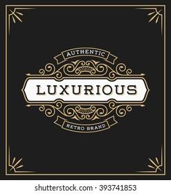 Vintage flourish logo label template for Hotel, Restaurant and Boutique Identity. Vector illustration