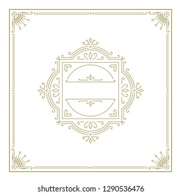 Vintage flourishes ornament frame template vector illustration. Victorian borders for greeting cards, wedding invitations, advertising or other design and place for text.