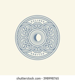 Vintage flourishes ornament label template with sun in trendy linear style. Vector illustration.