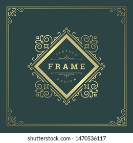 Vintage flourishes ornament swirls lines frame template vector illustration victorian ornate border for greeting cards, wedding invitations, advertising or other design and place for text.