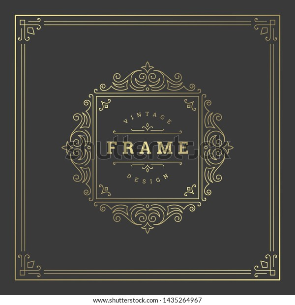 Vintage flourishes ornament swirls lines frame template vector illustration. Victorian borders for greeting cards, wedding invitations, advertising or other design and place for text.