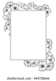 vintage flover design. Frame with geranium flowers and leaves. hand drawing style. black and white sketch