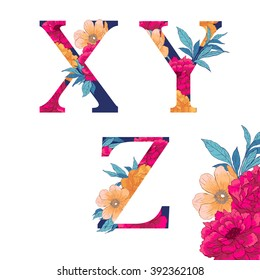 Vintage flower alphabet. Hand drawn vector illustration Isolated on white background. Check my portfolio for other letters.