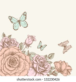 Vintage flower background. Beautiful invitation card with rose and butterfly