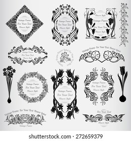 vintage flower vintage banners with frame for text and floral elements