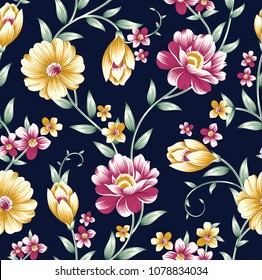 vintage flower pattern on navy background