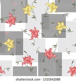 vintage flower and spires pattern