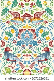 Vintage flowers and birds seamless pattern on light background. Color vector illustration.