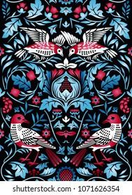 Vintage flowers and birds seamless pattern on black background. Color vector illustration.