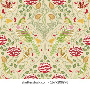 Vintage flowers and birds seamless pattern on light background. Vector illustration.