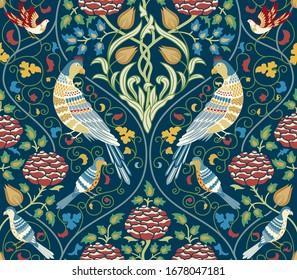 Vintage flowers and birds seamless pattern on dark blue background. Color vector illustration.