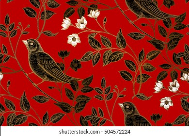 Vintage flowers, branches, leaves, birds. Print gold foil on a red background. Vector seamless pattern. Illustration for fabrics, phone case paper, gift packaging, textiles, interior design, cover.