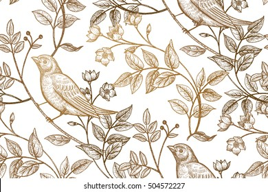 Vintage flowers, branches, leaves, birds. Print gold foil on a white background. Vector seamless pattern. Illustration for fabrics, phone case paper, gift packaging, textiles, interior design, cover.