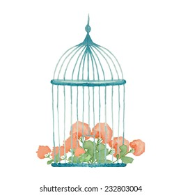 Vintage flowers in cage. Watercolor wedding object.