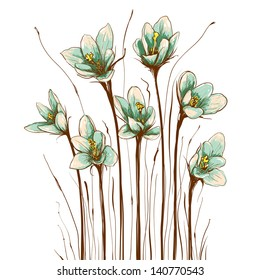 Vintage Flowers Composition. Decorative flowers background. Vector illustration EPS8.
