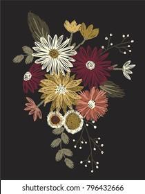 vintage flowers embroidery
