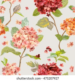 Vintage Flowers - Floral Hortensia Background - Seamless Pattern for Design, Print, Textile, Scrapbook - in Vector