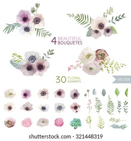 Vintage Flowers and Leaves - in Watercolor Style - vector