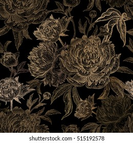 Vintage flowers peonies, branches, leaves. Print gold foil on a black background. Vector seamless pattern. Illustration for fabrics, phone case, paper, gift packaging, textiles, interior design, cover