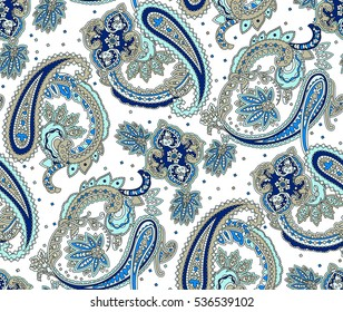 Vintage flowers seamless paisley pattern. Traditional Persian pickles ornament. Fabric, textile, card background, wrapping paper, wallpaper template.