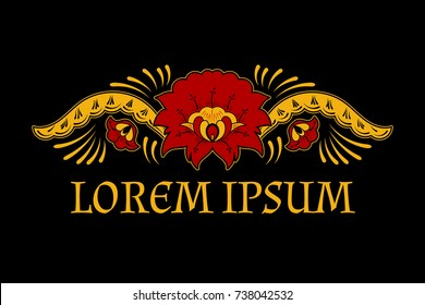 Vintage flowers vector logo. Retro floral frame border emblem with gold khokhloma ornament. Luxury label for russian restaurant, pancake cafe, craft art souvenir gift shop.