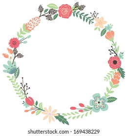 Vintage Flowers Wreath