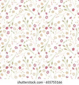 Vintage flowery pattern. Seamless floral background for wrapping, textile, wallpaper. Soft tile. Vector frourish texture. Soft cotton design.