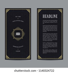 Vintage flyer design with gold abstract frame and crest. Template for invitation, brochure, menu, poster and other ads.