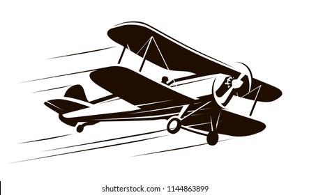 Vintage flying aircraft. Airplane symbol. Retro vector illustration