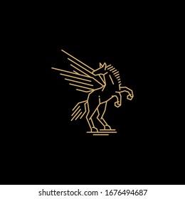 vintage flying horse line art logo icon vector