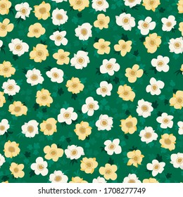 Vintage folk floral background. Seamless vector pattern for design and fashion prints. Plant pattern with small ditsy flowers of cinquefoil. Country style. Use for for textile, wallpaper, covers.