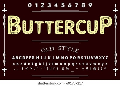 vintage font alphabet handcrafted vector named Buttercup