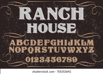 vintage font alphabet handcrafted vector named Ranch House