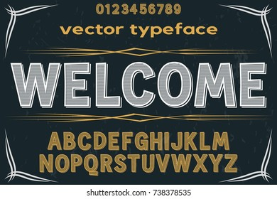 vintage font alphabet handcrafted vector old style named welcome