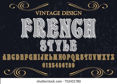 vintage font alphabet handcrafted vector named french style