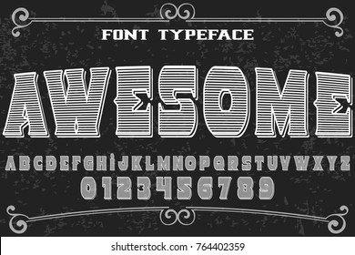 vintage font alphabet handcrafted vector named awesome