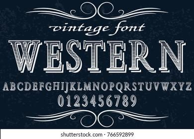 vintage font alphabet handcrafted vector named western