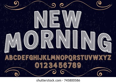 vintage font alphabet old style vector named new morning