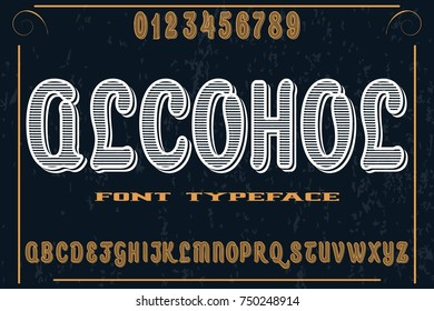 vintage font alphabet old style vector named alcohol
