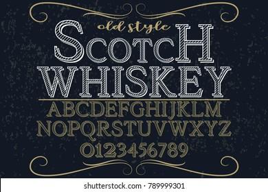 vintage font alphabet vector named Scotch Whiskey
