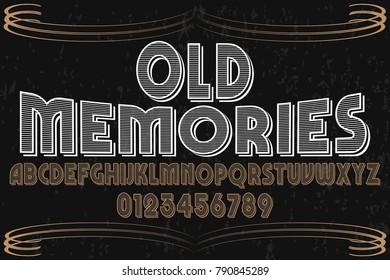 vintage font alphabet vector named old memories