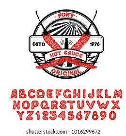"Vintage font design, handwritten alphabet. Vector illustration. Typeface ""Hot sauce"". Vector illustration of pepper on a white background. Logo for packaging sauce."