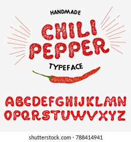 "Vintage font design, handwritten alphabet. Vector illustration. Typeface ""Chili Pepper"". Vector illustration of pepper on a white background."