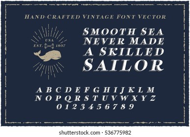 Vintage Font Handcrafted with Nautical Style Vector Eps
